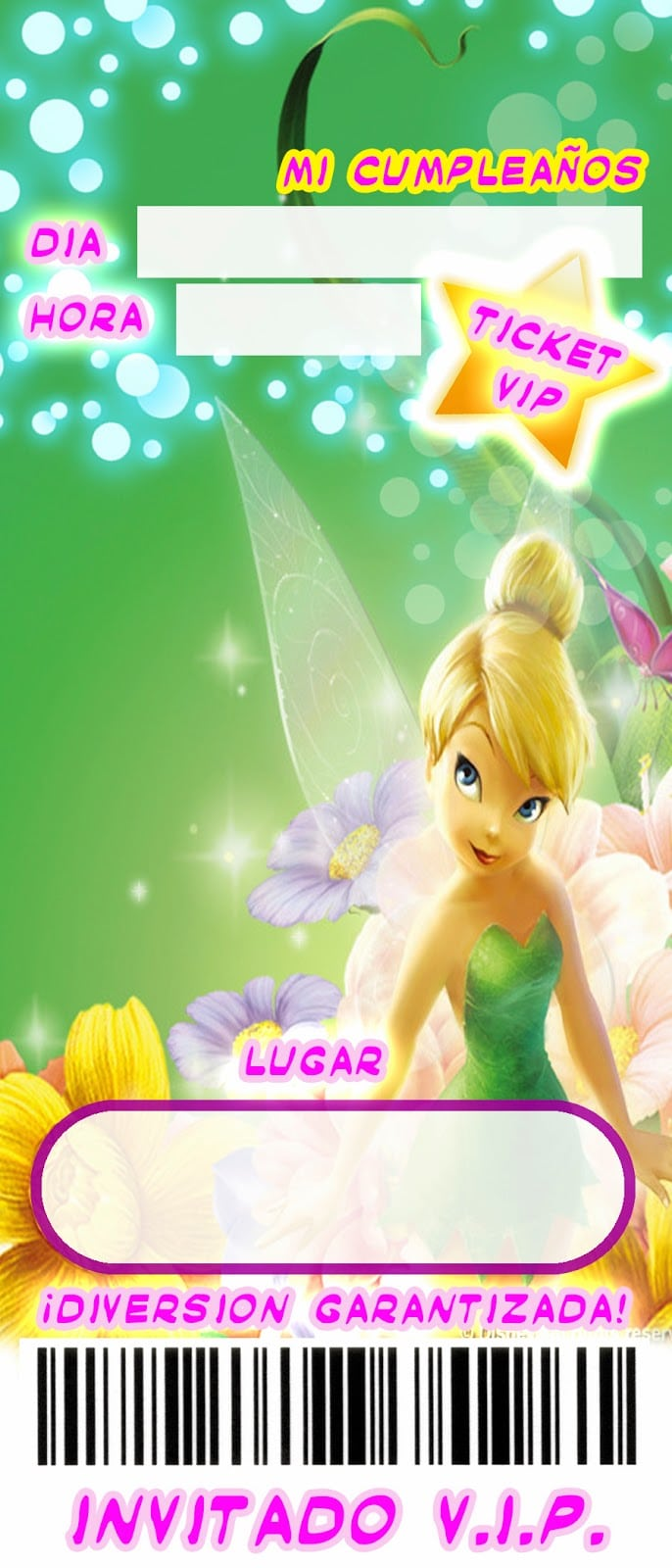 Free Tinkerbell Birthday Invitation Template