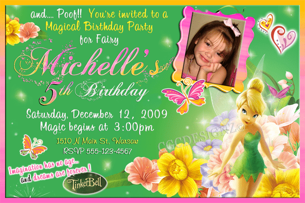 Free Tinkerbell Template Invitations