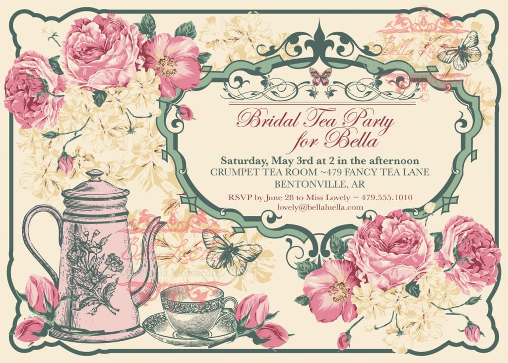 Free vintage tea party invitation for Tea party menu template