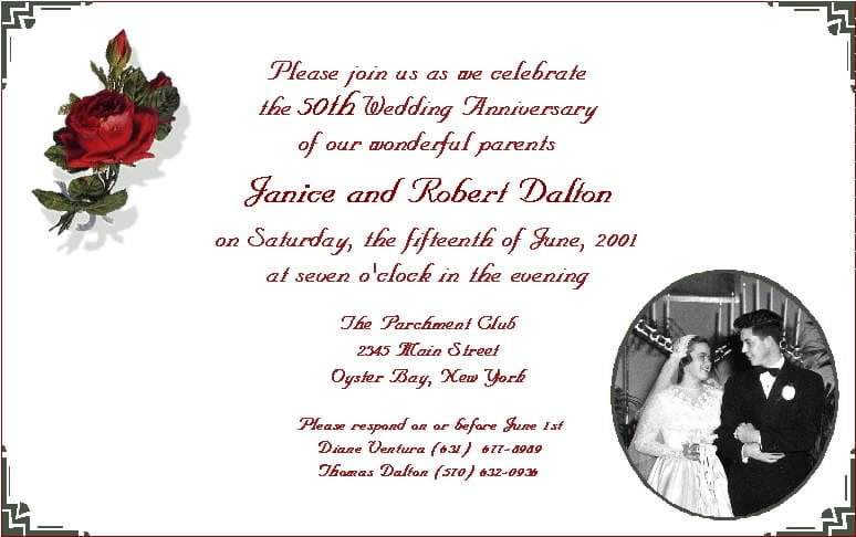 Invitation For Anniversary Message