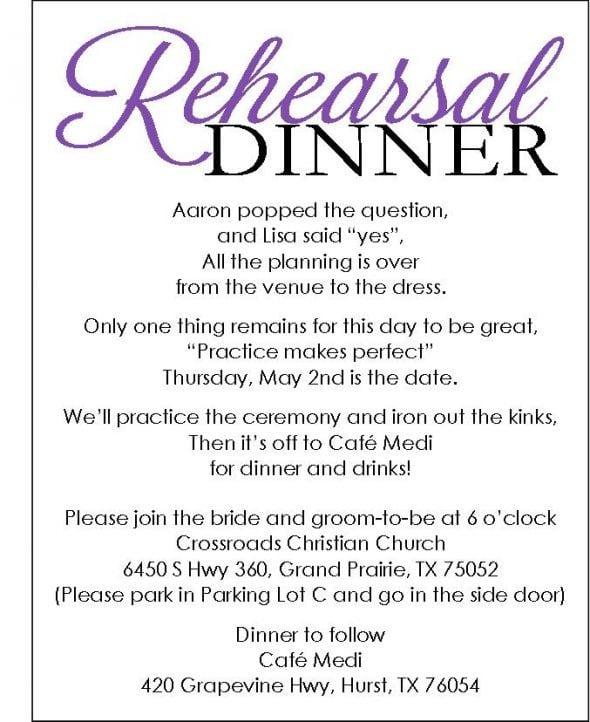 Invitation For Rehearsal Dinner Template