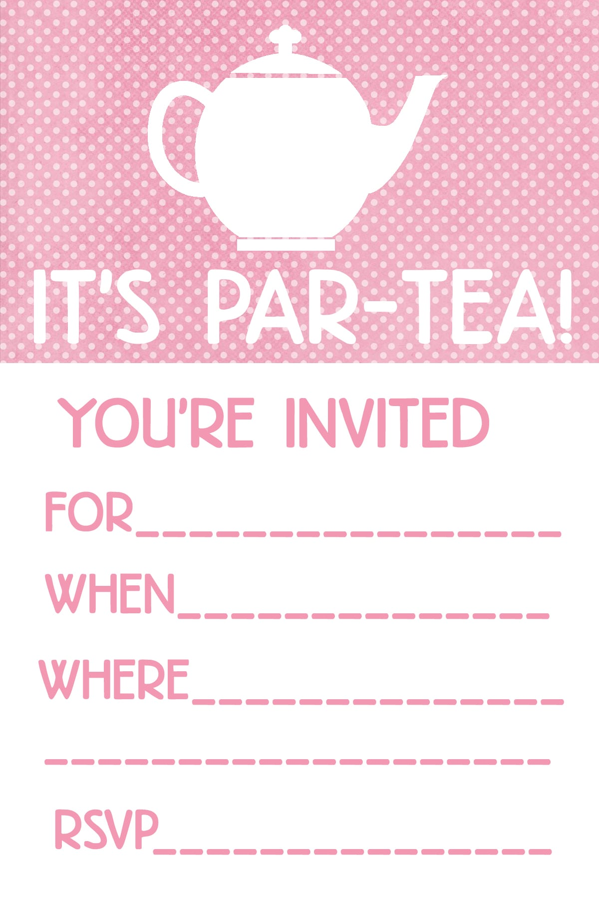 Invitation For Tea Party Free Printable