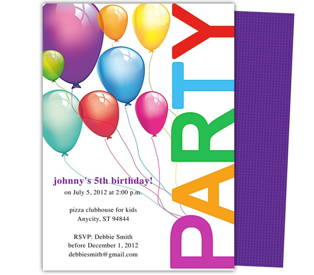 Kids Birthday Party Invitation Template Word