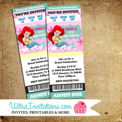 Lil Little Mermaid Ticket Invitation