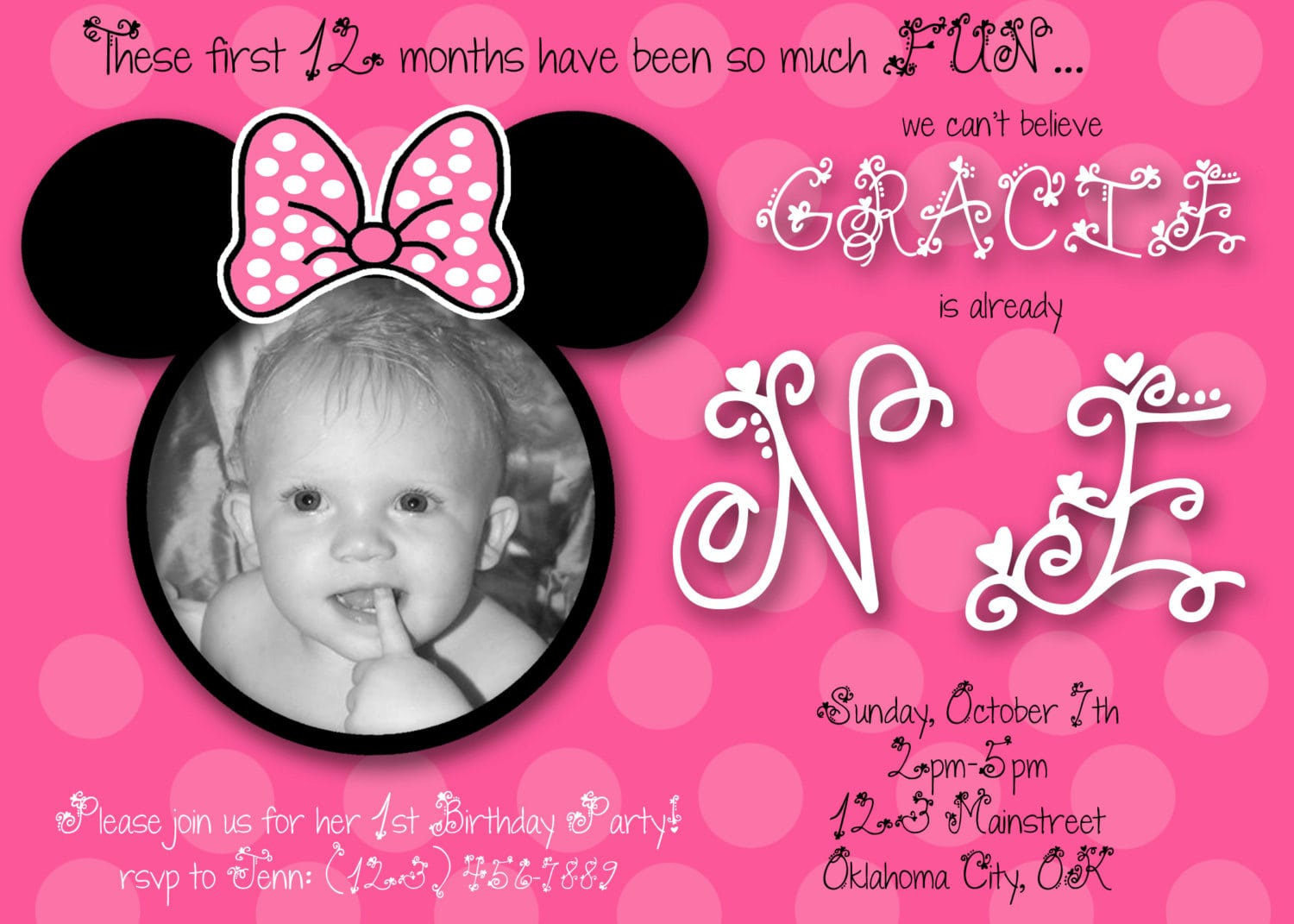minnie mouse first birthday invitation template. Black Bedroom Furniture Sets. Home Design Ideas