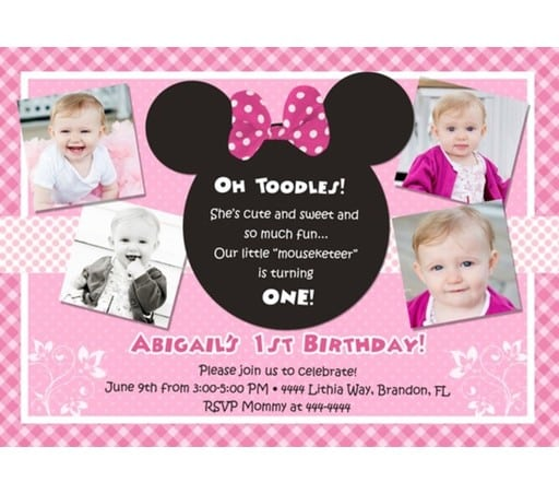 Minnie Mouse First Birthday Invitation Template - Minnie mouse 1st birthday invitations templates