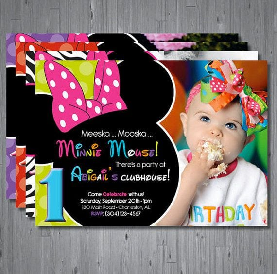 Minnie Mouse First Birthday Printable Invitations