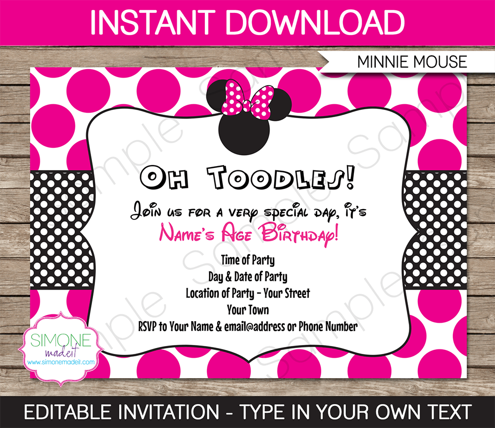Minnie Mouse Printable Birthday Invitations Free