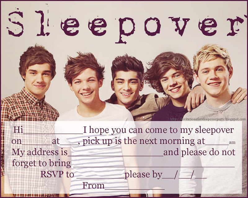 One Direction Invitation Template