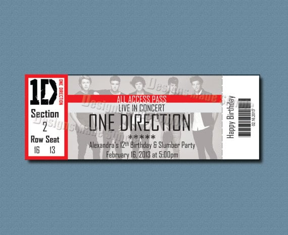 One Direction Ticket Invitations Template