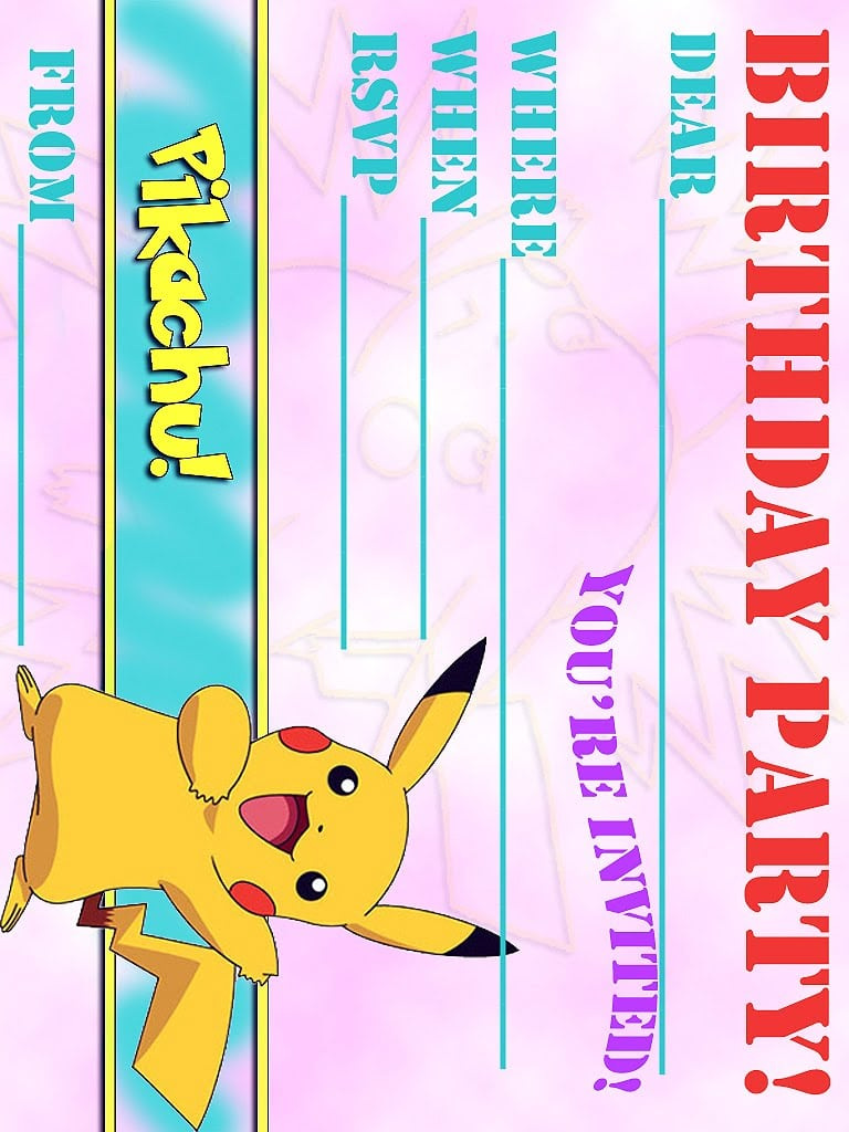 Pokemon Birthday Invitation Wording