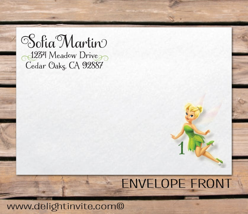 Sample Invitation Tinkerbell Themed Party