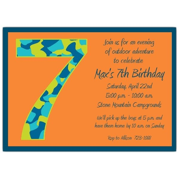 Sample Of 7 Birthday Invitation