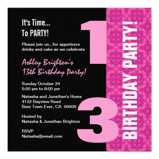 13th birthday invitation template