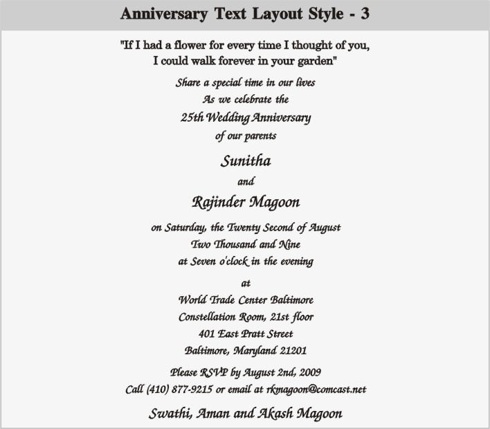 25th Anniversary Party Invitation Templates