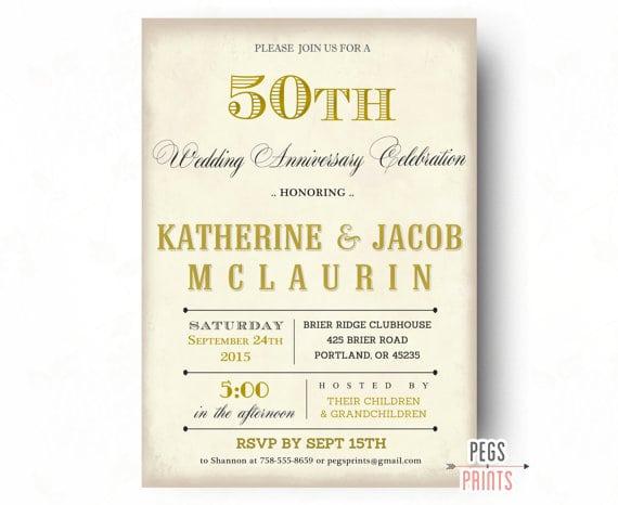Wedding Anniversary Invitation Message: 50 Year Wedding Anniversary Invitation