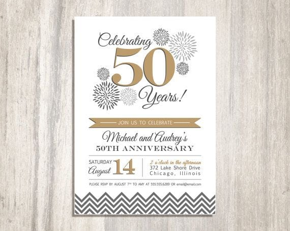 50th Wedding Invitation Templates: 50th Wedding Anniversary Printable Invitation