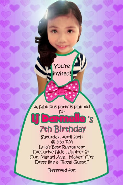 7th Bday Invitation