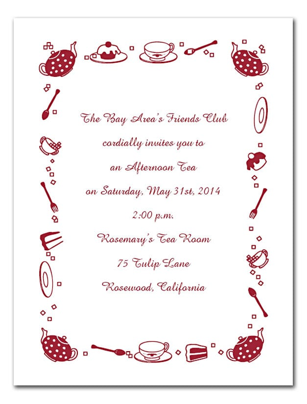 Afternoon tea invitation template free for Tea party menu template