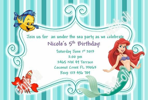 Ariel the little mermaid invitation download filmwisefo