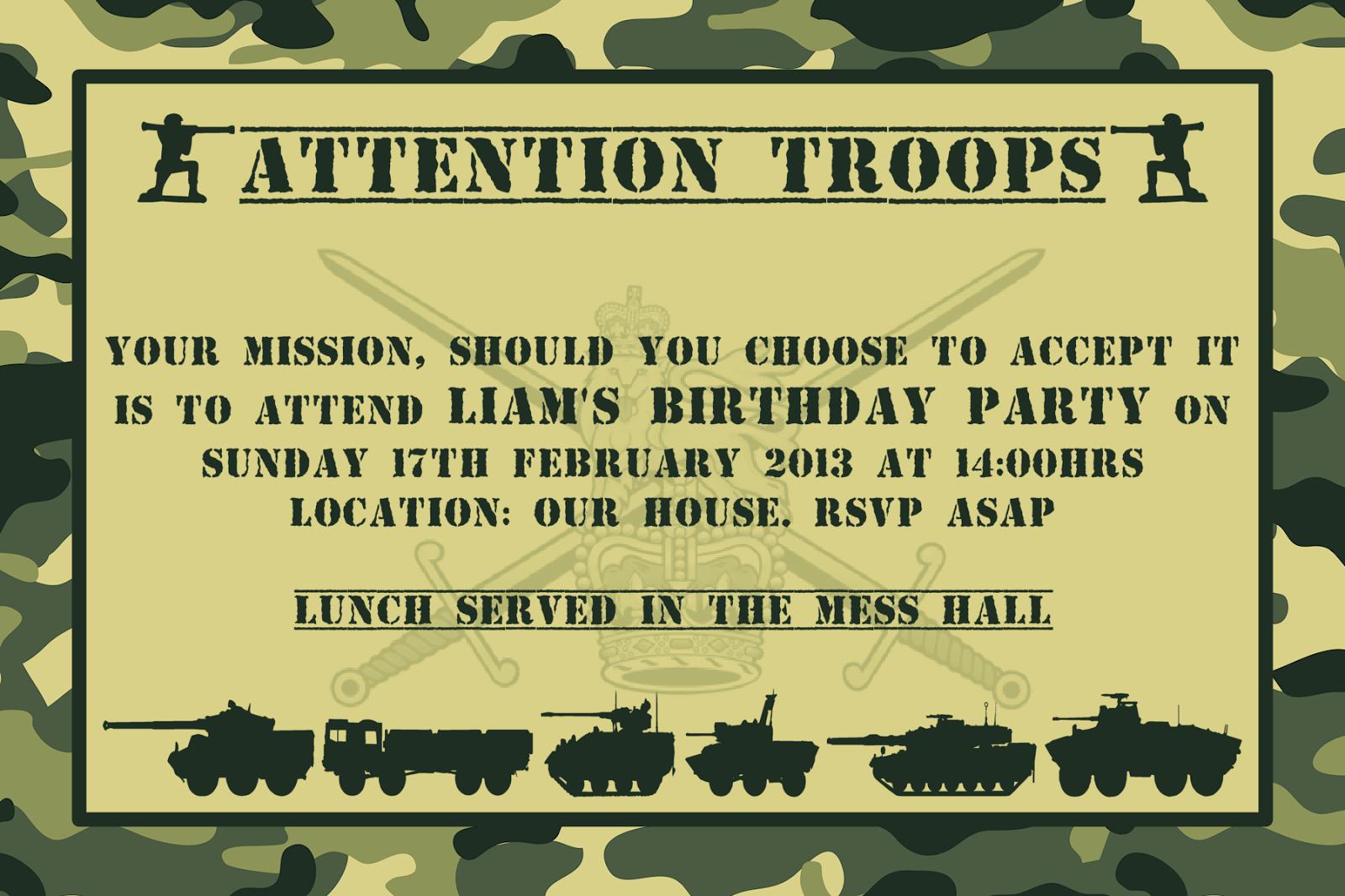 Army Party Invitation Ideas