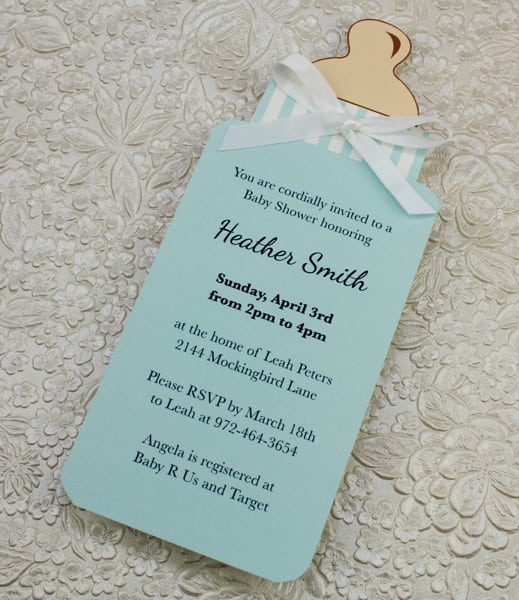 Baby Bottle Printable Invitation Template