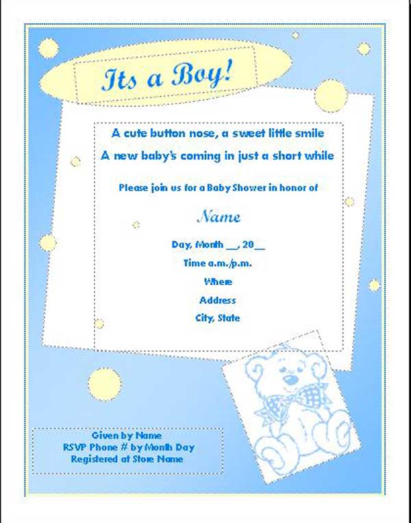 Shower Invitation Template For Boy – Baby Shower Flyer Template Free