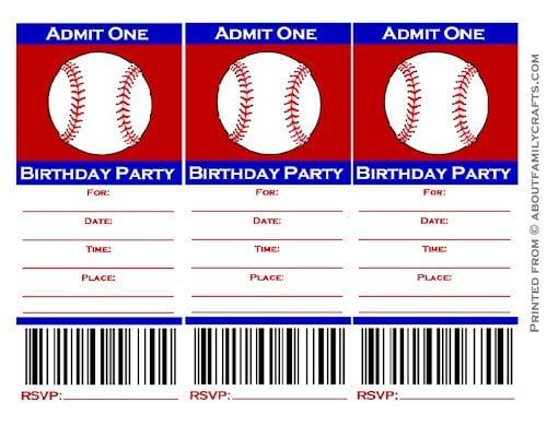 Baseball Ticket Invitation Free Template