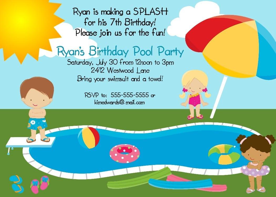 Birthday Invitation Card Pool Party