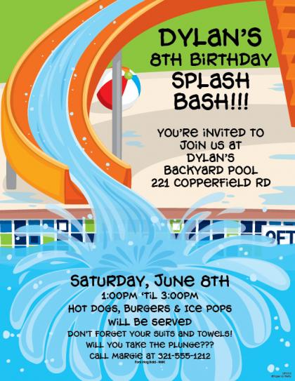 Birthday Swim Party Invitation Wording