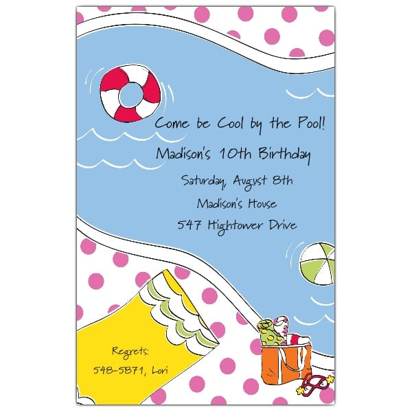 Birthday Swim Party Invitations