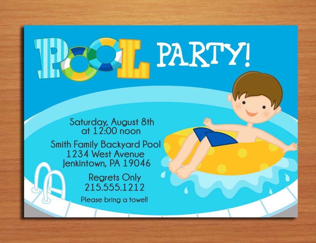 Boy Pool Party Invitation Free Printable