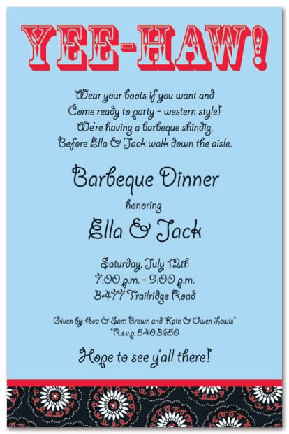 Bridal Shower Invitation Wording Western Theme