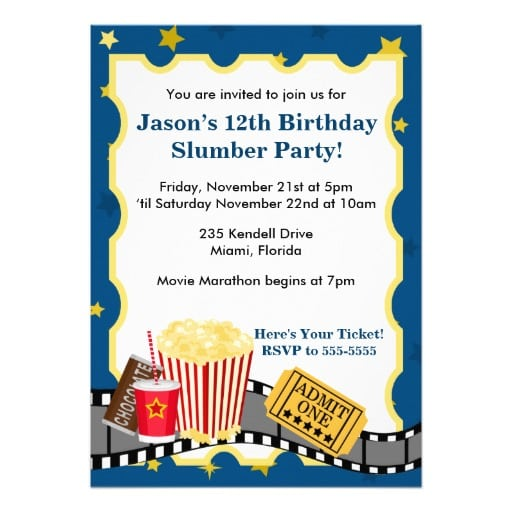 Cinema Birthday Invitation Images