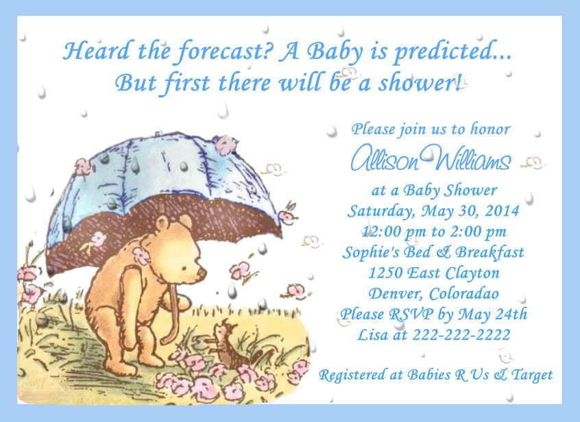 Classic Winnie The Pooh Baby Shower Invitation Wording