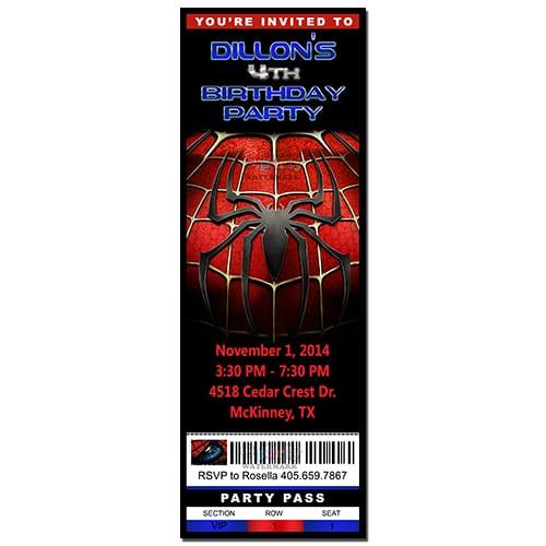 Custom Spiderman Birthday Party Ticket Invitation