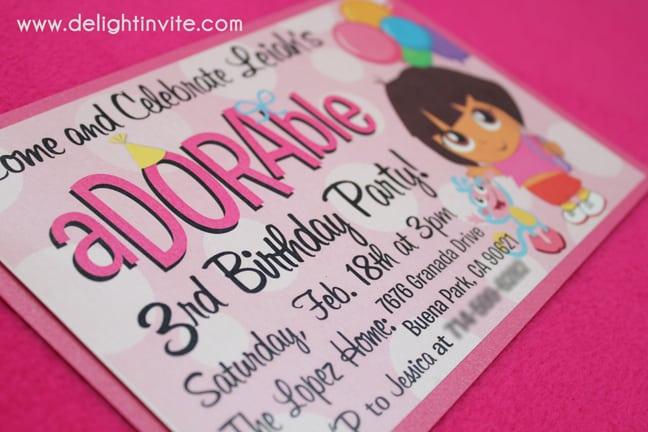 Dora Birthday Invitation Photo