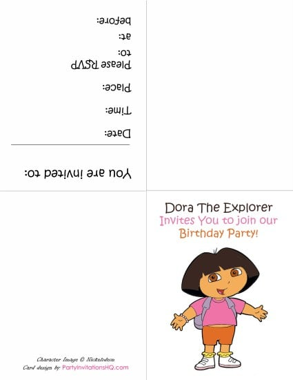 Dora Birthday Invitations Free Online