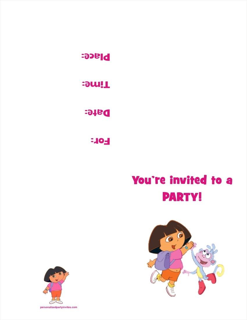 Dora The Explorer Free Printable Invitation
