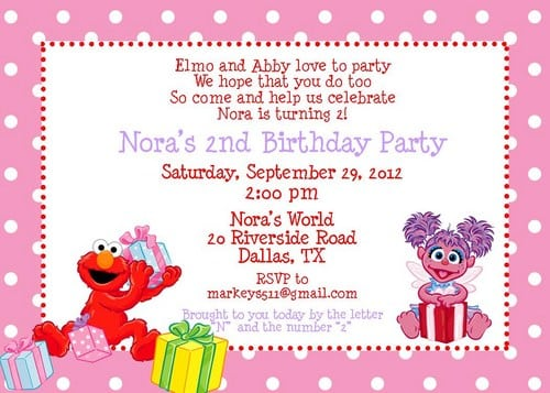 Elmo And Abby Invitation Template