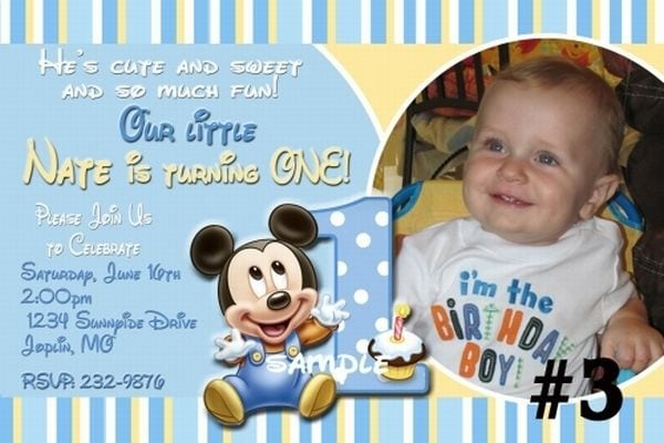 First Birthday Mickey Mouse Invitation Wording