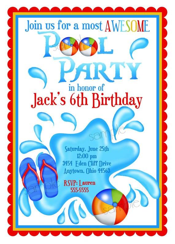 Free Boys Pool Party Invitation