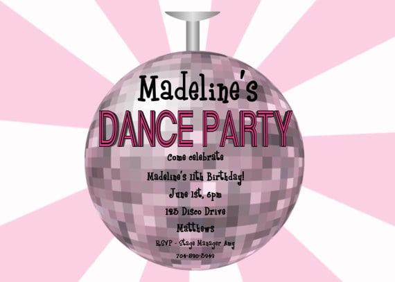 disco invitations. disco dance birthday party invitations printable ...