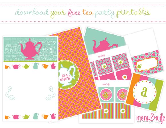 tea party printable party kits
