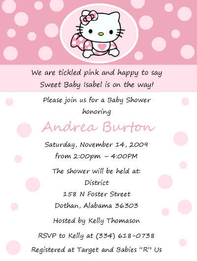 Free Hello Kitty Baby Shower Invitation Template