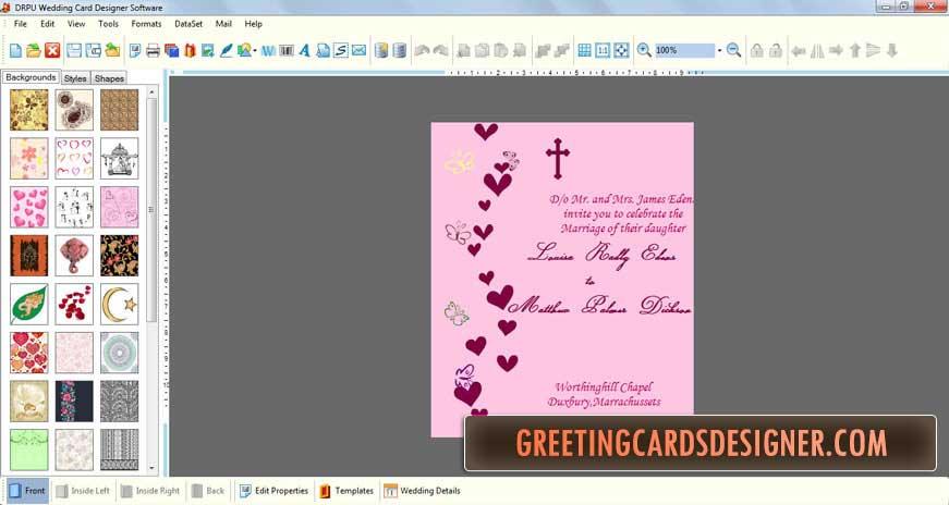 Маме именинницы, программа дизайнер открыток
