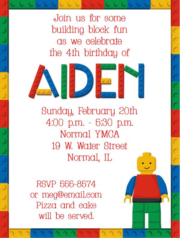 Free Lego Themed Birthday Party Invitations