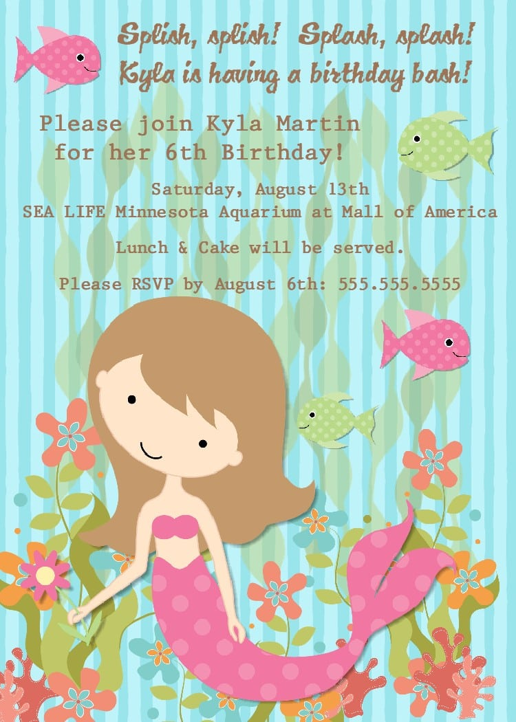 Little Mermaid Invitation Wording Best Printable Invitation Design