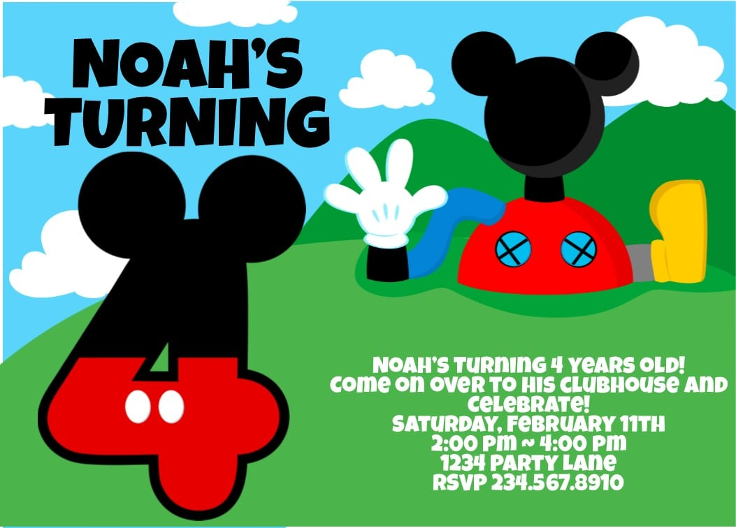 free mickey mouse invitations download