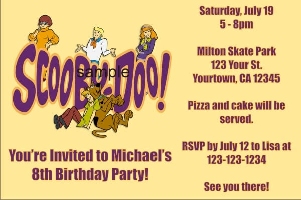 Free Online Scooby Doo Birthday Invitations